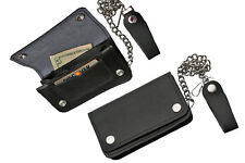 "Mens 6"" Black Bi-Fold Chain Wallet Biker Trucker Motorcycle Genuine Leather 2554"