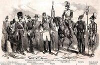 Roma: Uniformi Esercito dello Stato Pontificio.Stampa Antica + Passepartout.1860