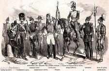 Roma: Uniformi Esercito Stato Pontificio. Stati della Chiesa. Stampa Antica.1860