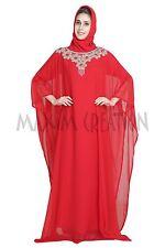 RED FANCY DUBAI FARASHA JILBAB JALABIYA ARABIAN ISLAMIC PARTY WEAR DRESS 5425