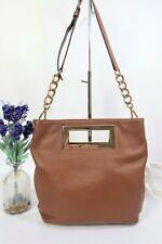 MICHAEL KORS Convertible Crossbody Shoulder Clutch Grab Bag Medium Tan Leather