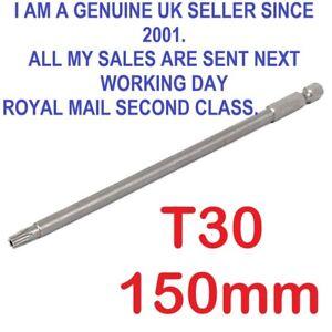 "1/4"" Hex Shank 150mm Long T30 Magnetic Torx Security Screwdriver Bit"