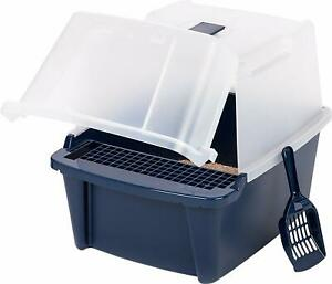 IRIS Large Split-Hood Litter Box with Scoop and Grate Navy Blue Hinged Door New