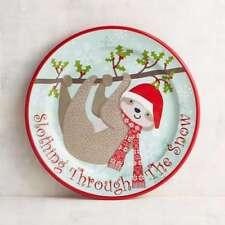 "Pier 1 Imports SLOTHING THROUGH THE SNOW Sloth Melamine SALAD / DESSERT 9"" plate"