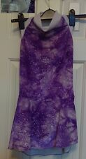 Ice Figure Skating Dress sleeveless Purple and White velour tie dye Girl 10 12