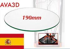 Cristal Glass 190mm (19cm)  Rostock Kossel Reprap Impresora 3D Heatbed Cam. Cal.