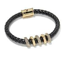 "Roberto by RFM Spirali Pave Crystal Faux Leather Bracelet 7.5 "" L Fits M/L Wrist"