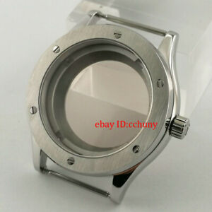 PARNIS 42mm sapphire glass brushed Automatic Watch Case fit NH35 NH36 movement