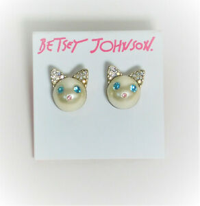 Betsey Johnson Gold Tone Pearl Cat Face Stud Earrings