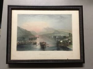 """19th C Hand Colored Engraving by JT Willmore After JMW Turner's  """"Winander Mere"""""""