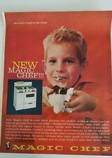 1961 white Magic Chef kitchen stove boy eating chocolate cake ad