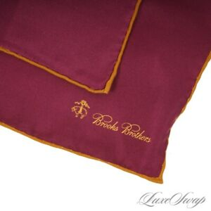 NWT Brooks Brothers Plum Wine Ochre Piped Solid Hand Rolled Silk Pocket Square