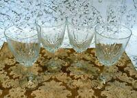 Set  of 4 Vintage Crystal Clear Wine Glasses Stemware Goblets