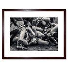 Photo Sport Rugby Football Close Up Scrum Players Ball Game Art Framed Wall Art