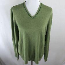 Ted Baker Men Soft Cotton Long Sleeve V-Neck Green Sweater - UK 4 - US L