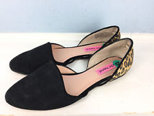 BETSEY JOHNSON 8 D'Orsay Flats Black Leather Animal Print CUTE Career Casual
