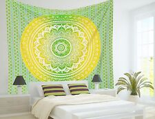 Hippie Ombre Mandala Colcha India Boho Decoración Pared Doble Colcha Tapiz