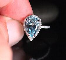 Pear-Shaped Blue Aquamarine Diamond Halo Engagement Bridal Ring 14k White Gold