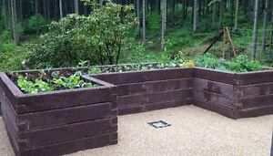 Orig. Leier-Durisol Hochbeet U1-Form aus versteinertem Holz, ca6m² Pflanzfläche