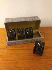 More details for vintage  milk glass napkin rings black rare
