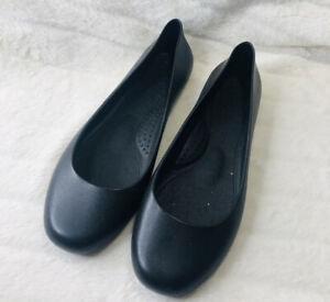 New Women's Okabashi Black Shoes Flat Plastic Shoes Size 10