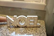 Noel Sign LED Marquee Wood Painted White Gold Free Standing Shelf Mantle NEW