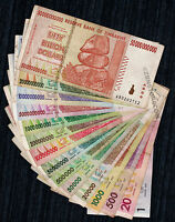 1 to 50 Billion Zimbabwe Dollars Set of 15 Different Bank Notes *Before Trillion