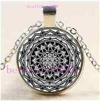 Mandala Flower of Life Cabochon Glass Tibet Silver Chain Pendant Necklace