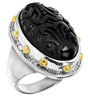 """Silpada """"Into the Night"""" Black Agate Sterling Silver Brass Accent Ring Size 5-11"""