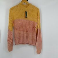 Women's Wild Fable Chunky Mock Neck Pink & Yellow Knit  Sweater