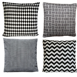 EG/_geometrisch schwarz /& weiß Kissenbezug Kissenbezug Sofa Wohndeko eyef
