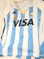 Adidas ARGENTINA Field Hockey ClimaCool Jersey White Blue Tank Womens Medium EUC
