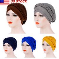 US Women Lady Muslim Braid Head Hijab Turban Wrap Cover Cancer Chemo Cap Hat