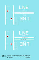 K4 HO Decals Lehigh and New England 40 Ft Boxcar White Big LNE