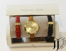 New Michael Kors Runway Brown Red Black Leather Three Hand Watch Set MK2606