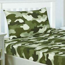 ARMY CAMOUFLAGE DOUBLE FITTED SHEET & TWO PILLOWCASES SET KHAKI GREEN CAMO