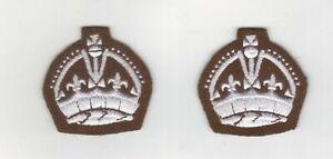 WORLD WAR 2 TYPE COLOUR/STAFF SERGEANTS CROWN UNPADDED FOR BATTLE DRESS IN PAIRS