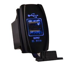 5V 3.1A Dual USB Socket Charger Blue backlit Swtich Panel For Car Motorcycle RV