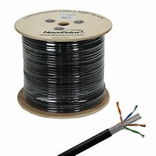 CAT6 500FT UTP Solid Copper Outdoor Direct Burial LDPE Ethernet 23AWG Black