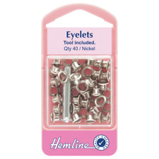 Hemline 5mm Silver Nickel Eyelet Kits With Flaring Tool (40 Pieces) H435.n