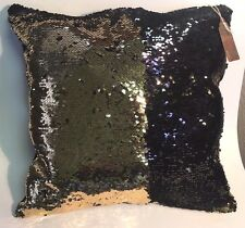 Gold Black Sequin Pillow Mermaid Magic Glitter Reversible Color Changing 16'' #4