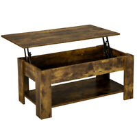 Rustic Lift Top Coffee Table w/Hidden Compartment&Storage Shelf For Living Room