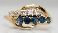 WOW! Women's 14K Yellow Gold .50 TCW Sapphire & Diamond Cocktail Ring Size 5.25