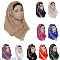 Muslim Rhinestone Chiffon Long Scarf Hijab Women Wrap Head Cover Shawls Headwear