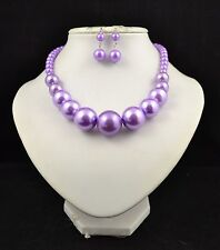 "16"" LILAC PURPLE FAUX PEARL GRADUATED NECKLACE AND EARRING SET"