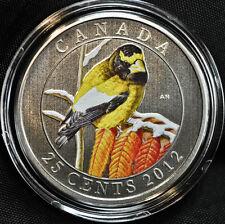 2012 Canada 25 cent Coloured Coin - Evening Grosbeak