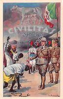 Cartolina - Colonie  Civilitas soldati e indigeni ill. Piattoli
