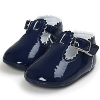 NEW Baby Girl Navy Blue Faux Leather Mary Jane Crib Shoes 0-6 6-12 12-18 M