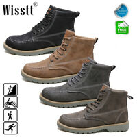 Mens Martin Boots Outdoor Waterproof Leather Lace up Casual Non-Slip Ankle Shoes