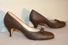 Fits 8-8.5 N  NOS Vtg 40s 50s HIGH HEEL BROWN Pebble TEXTURE LEATHER Shoe